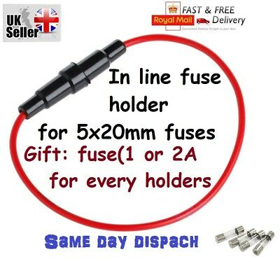 Fuse holder for 5x20mm Glass Fuse In-line screw in casing 22awg wiring UK +gift