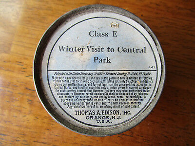"""*very Rare* Orig Edison Home Kinetoscope Film """"winter Visit To Central Park"""" Nyc"""