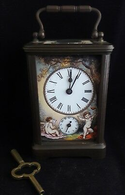 Exceptional Swiss French Bronze Enameled Portrait Panels Carraige Clock