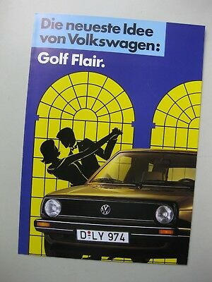 Volkswagen Golf Flair brochure Prospekt German Deutsch 1986 4 pages