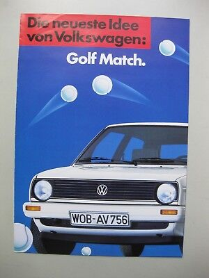 Volkswagen Golf Match brochure Prospekt German Deutsch 1985 4 pages