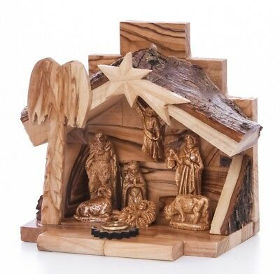 Hand Carved Nativity Set Scene With Bark Roof Made In Bethlehem (OW-NAT-022)