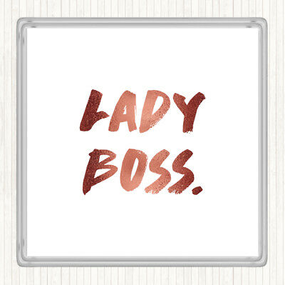 Rose Gold Lady Boss Quote Drinks Mat Coaster
