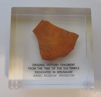 Actual Pottery Fragment 2nd Temple Jerusalem Israel Museum Lucite Paperweight