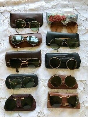 Lot of 10 Vintage Pairs Sun Glasses & Clip-ons with cases for PARTS or REPAIR