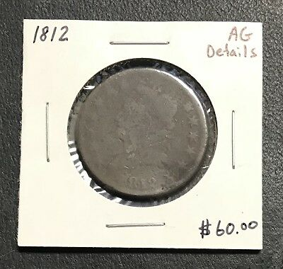 1812 U.s. Classic Head Large Cent ~ About Good Details! $2.95 Max Shipping! C810