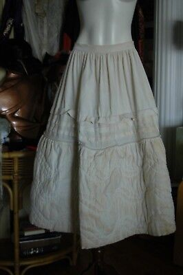 Antique HAND QUILTED WINTER CRINOLINE CIRCA 1850'S MAY HAVE BEEN WORN W/MY HOOPS