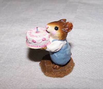 "Wee Forest Folk M-083 ""Happy Birthday Boy Mouse"" 1987 signed by William Petersen"