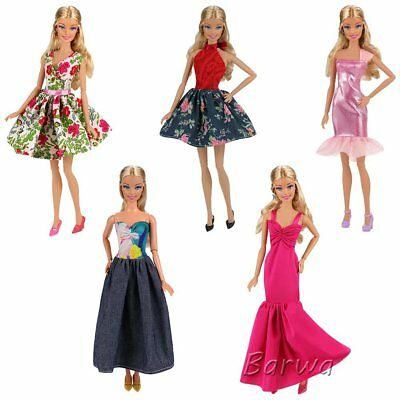 15PC 5 Sets Fashion Casual Wear Clothes/outfit 10 Pair Shoes Barbie Doll Gift A