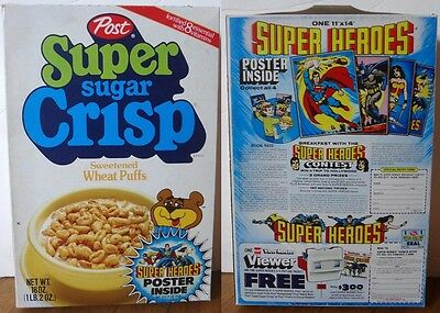 1980 Sugar Crisp Cereal Box DC Super Heroes Justice League poster view-master