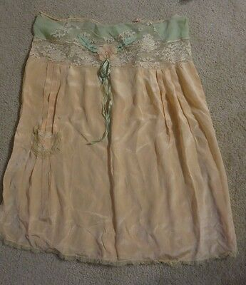 Vintage Peach Cami Knicker (Teddy) Lingerie - Lace Top with Applique and Ribbons