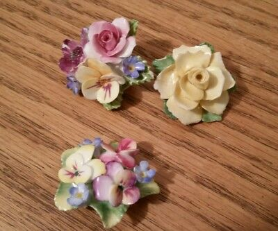 Lot of 3 Porcelain Flower Brooches; Made in England; Yellow Rose; Pansies