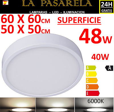 Downlight panel led superficie REDONDO 48W 60x60 6000k blanco,plafon techo foco