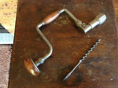 Vintage 10in German Brace Drill And Bit. Nice Working Old Tool