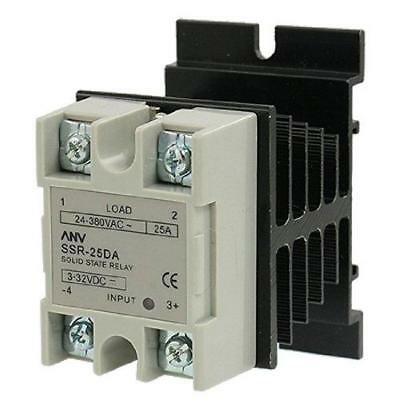uxcell Heat Sink + Solid State Relay SSR-25 DA 25A 3.2-32V DC/24-380V AC