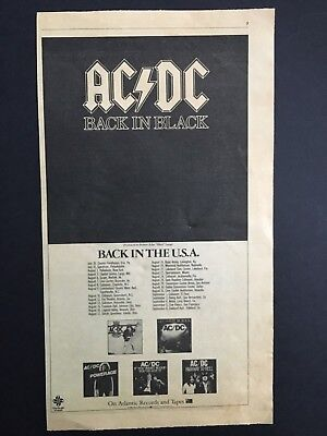 "1980 AC/DC ""Back In Black"" 6X13""  Album Release Ad W/USA Tour Dates"
