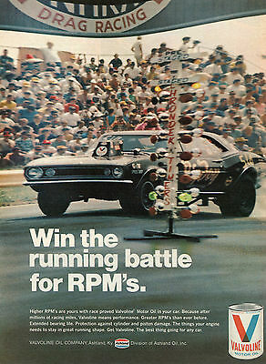 1971 Valvoline Motor Oil NHRA Drag Racing Win the Running Battle for RPM's Ad