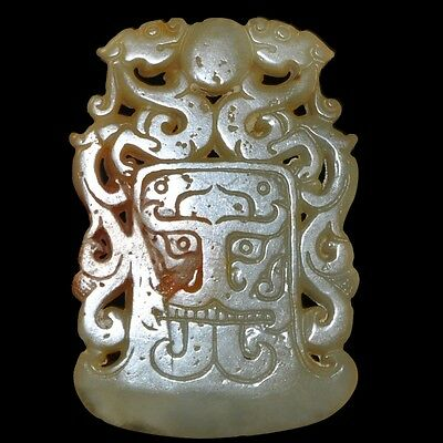 Old Chinese antique Jade hand-carved Beast Statue Pendants Amulet ~Dragon