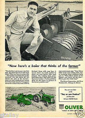 1957 Print Ad of Oliver 60 Baler Farm Tractor