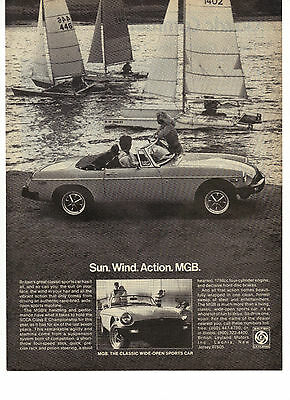 1978 British Leyland MGB Convertible Sports Car Sun Wind Action Sailboat Ad