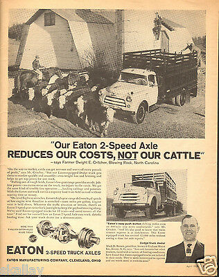 1959 LARGE Print Ad of Eaton Axles Dodge Cattle Farm Truck Dealer Mack D Brown