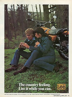 1974 Lee Rider Jeans & Jackets The Country Feeling Ad w/ Suzuki Motorcycle
