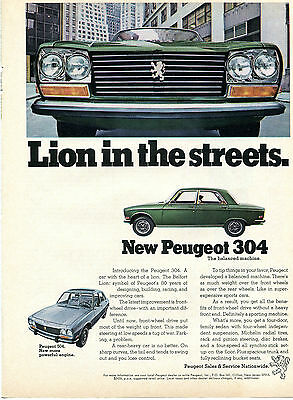 1970 Peugeot 304 Sedan Lion In The Streets Print Ad w/ The More Powerful 504