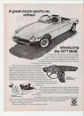 1977 British Leyland Motors MGB Classic Convertible Sports Car Print Ad