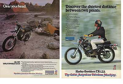 1973 2 Separate Print Ads for AMF Harley Davidson Motorcycles SX 175 & TX 125