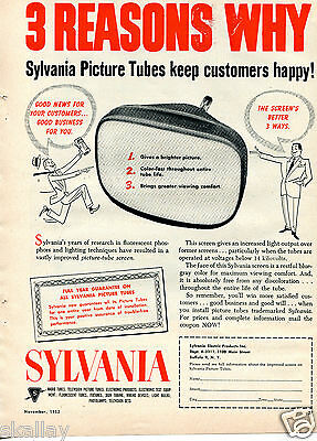 1952 Print Ad of Sylvania TV Picture Tubes Kepp Customers Happy 3 Reasons Why