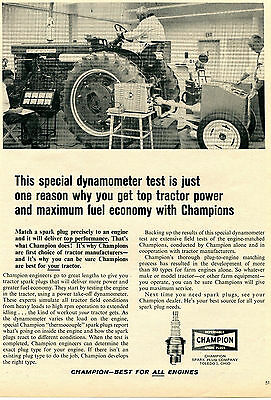 1965 Print Ad of Champion Spark Plugs International Harvester IH Farmall Tractor