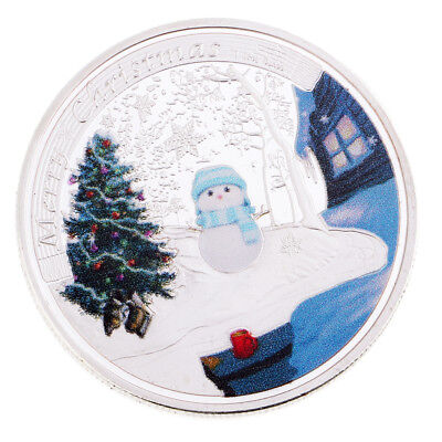 Christmas Snowflake Commemorative Coin Toys & Round Box Xmas /Holiday Gifts