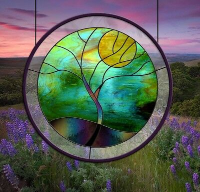 Stained Glass Window Panel Round Stormy Tree Blue Green Gold Black