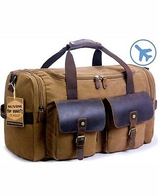 5a8747ca0 SUVOM Leather Canvas Duffle Bag Weekend Overnight Travel Tote Duffel Luggage