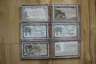 Lot of 6 California Fishing Licenses, 1918 to 1939, hard cases, fishing, hunting