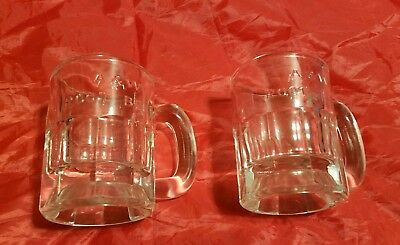 "Vintage A & W Root Beer Mugs Set Of 2 Child Size 3"" Tall Clear Glass 2295"