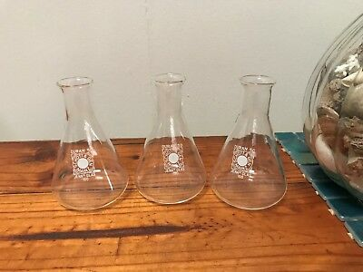3 Schott Gen 100ml flasks Vintage Jen Glass chemistry Industrial Upcycle Germany