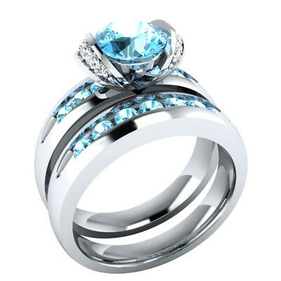 2pcs/set Fashion Round Cut Aquamarine Women 925 Silver Wedding Ring Size 6-10
