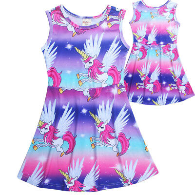 Unicorn Dress Summer Sleeveless Kids Girls Child Casual Party Dresses Vest Skirt