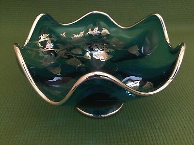 Antique Blue Glass Pedestal Bowl With Silver Overlay