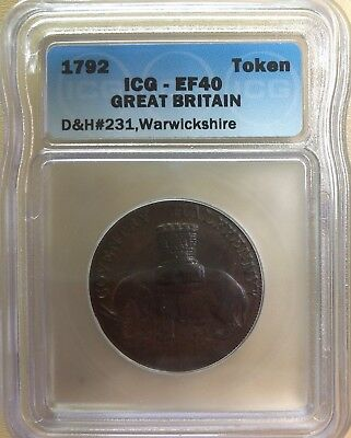 1792 Great Britain D&H-231 Warwickshire Conder Token - ICG EF40