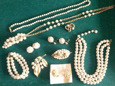 Vintage Lot of 10 Faux Pearl Jewelry Gorgeous Pieces and Great Variety!