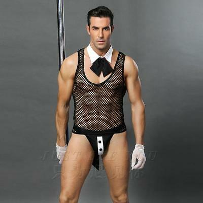 Men Lingerie Sexy Hot Erotic Tailcoat Valet Cosplay Sexy Transparent Costumes...