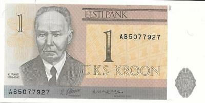 ESTONIA 1 Kroon, P - 69, Uncirculated from 1992, Toampea Castle