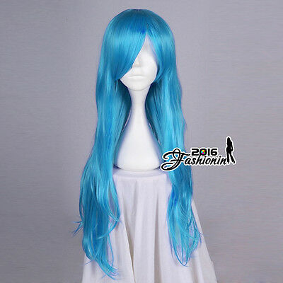 80CM Long Wavy Hair Women Light Blue Halloween Heat Resistant Cosplay Wig+Cap