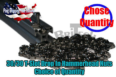 M5 T-Slot Nut, Drop In Hammer Head Nut for 3030 Extrusion. Nickle, Multi-Amounts
