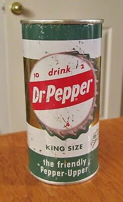 """(F) ~DR. PEPPER~ """"KING SIZE"""" 10-ounce Flat Top Soda Cola Can Dallas Texas ~L@@K~"""