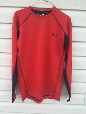 Under Armour Men's Size Small Fitted Cold Gear Red Long Sleeve Infrared