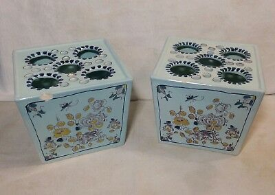 Delft Holland Two Square Vases Flower Frog Williamsburg Restoration Both Chipped