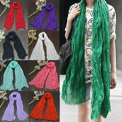 Soft Women Long Linen Shawl Wrap Warm Voile Crinkle Scarf Muslim Thin 20 Colors
